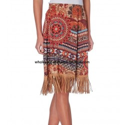 skirt suede print fringes 101 idées 274CW wholesale french clothes