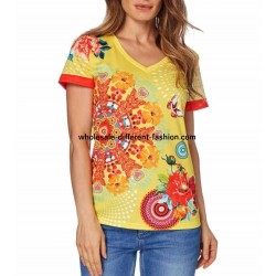 tshirt top summer ethnic floral brand 101 idées Design 414Y Wholesale
