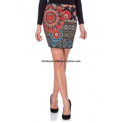 buy french Mini skirt suede print ethnic 101 idées 3129W