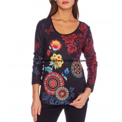 buy french T-shirt top winter floral ethnic 101 idées 2103W