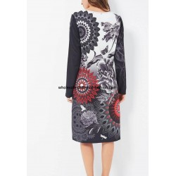 supplier fashion dress plus size print winter 101 idées 185W LARGE
