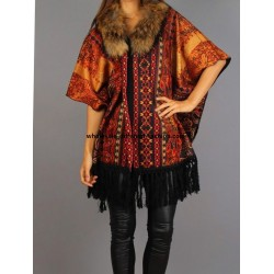 supplier fashion ethnic printed poncho fringes and fur brand 101