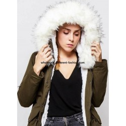 supplier fashion Parka khaki with hood and removable fur G20WV