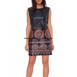 dress tunic print ethnic Faux leather 101 idées 1910W indispensable