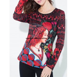 Long sleeve printed tshirt with pearls 101 idées 4103Y new collection