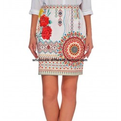 Mini skirt suede print floral ethnic 101 idées 359Y new collection