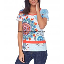 T-shirt top summer floral ethnic 101 idées 415Y cheap discount price