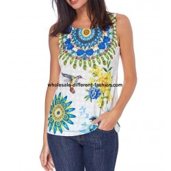 T-shirt top summer floral ethnic 101 idées 1652Y cheap discount price