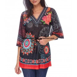 ethnic and floral print blouse tunic 101 idées 1607Y parisian clothing