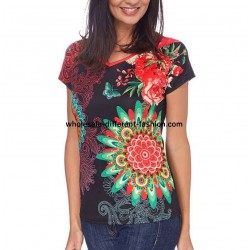 T-shirt top summer floral ethnic 101 idées 443Y french clothing wholesale