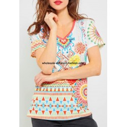 wholesale clothing T-shirt top lace summer floral ethnic 101 idées 467Y