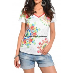 wholesale clothing T-shirt top summer floral ethnic 101 idées 466Y