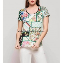 wholesale clothing T-shirt top summer floral 101 idées 4112Y bohemian