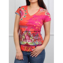 wholesale clothing T-shirt top suede floral ethnic 101 idées 3145Y