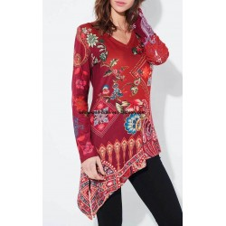 wholesale boho chic tunic ethnic floral asymmetric winter 101 idées 2123Z