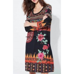 wholesale boho chic dress ethnic floral winter 101 idées 2141Z bohemian