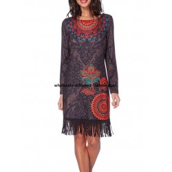 bulk clothes dress print ethnic tribal fringes 101 idées 195Z