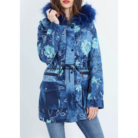 supplier fashion Cotton coat with embroidered flowers fur hood brand