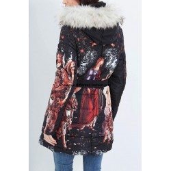 supplier fashion coat long quilted black print fur hood brand 101