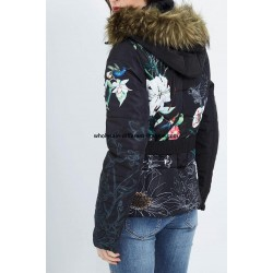 buy bulk new collection coat short quilted print floral fur hood brand 101