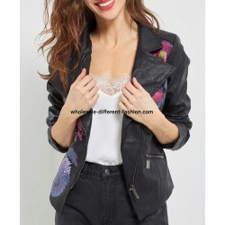 buy bulk jacket Faux leather perfecto print ethnic floral 101 IDEES 1949Z