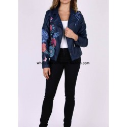 buy bulk jacket Faux leather perfecto print ethnic floral 101 IDEES 1961Z