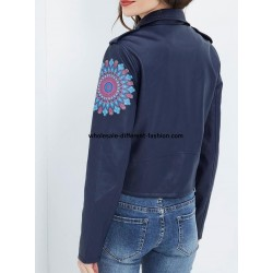 buy bulk jacket Faux leather perfecto print ethnic floral 101 IDEES 1965Z