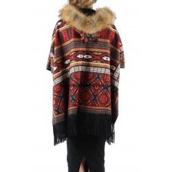 buy bulk ethnic printed poncho fringes and fur hood brand 101 idees 151P