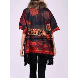 buy bulk ethnic printed poncho fringes and fur brand 101 idees 2114P