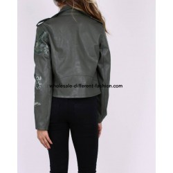 buy bulk jacket Faux leather perfecto print ethnic floral 101 IDEES 1943Z