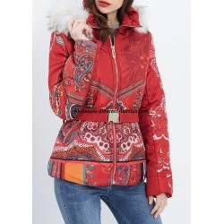 buy bulk coat short quilted print ethnic fur hood brand 101 idees 1818Z