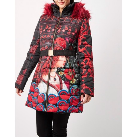 supplier fashion coat long quilted red print fur hood brand 101 idees