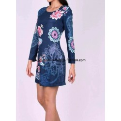 buy bulk dress tunic suede ethnic floral 101 idées 3141Z
