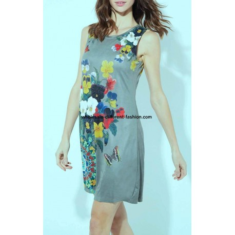 dress tunic suede ethnic floral 101 idées 366Y cheap discount price